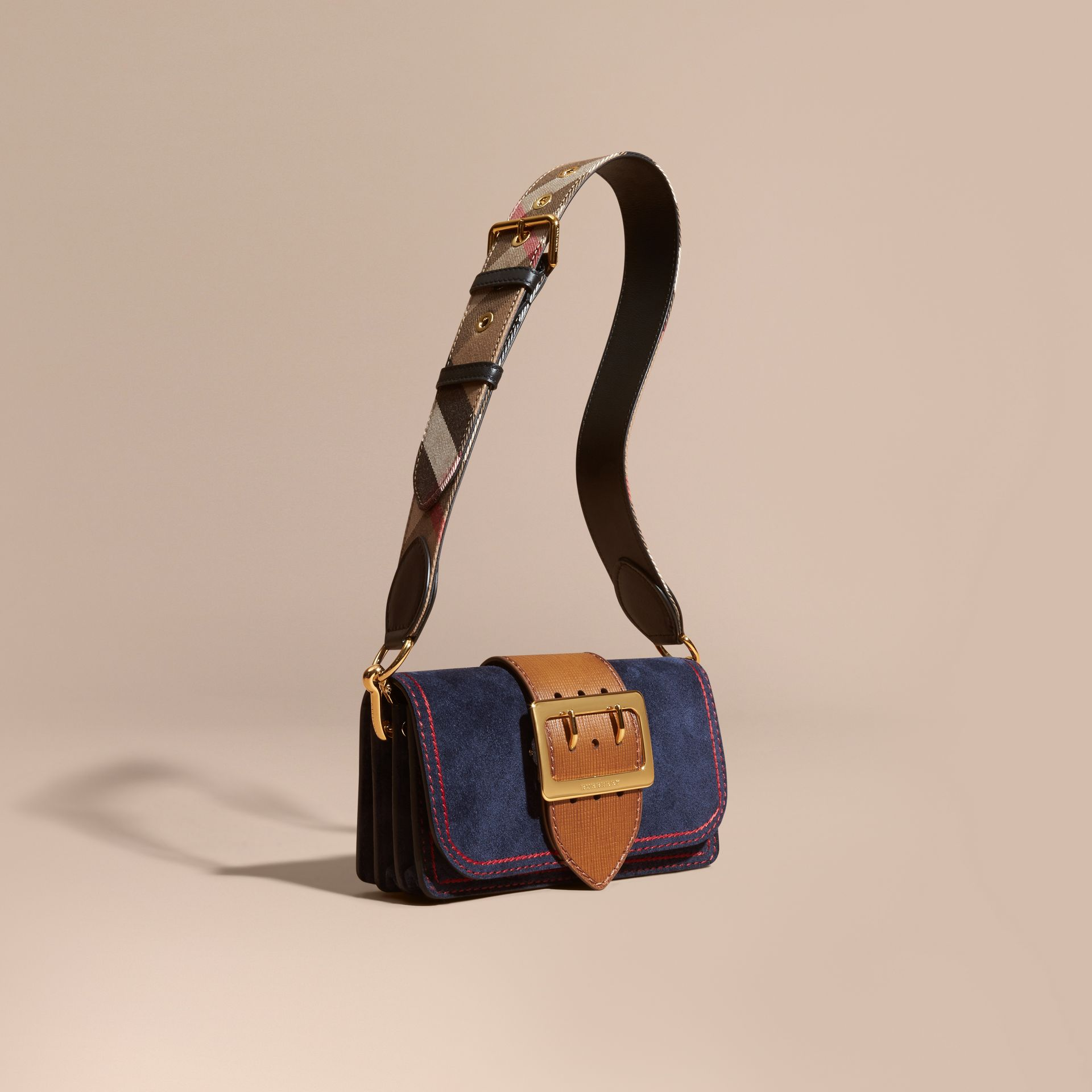 The Small Buckle Bag in Suede with Topstitching Ink / Tan - gallery image 1