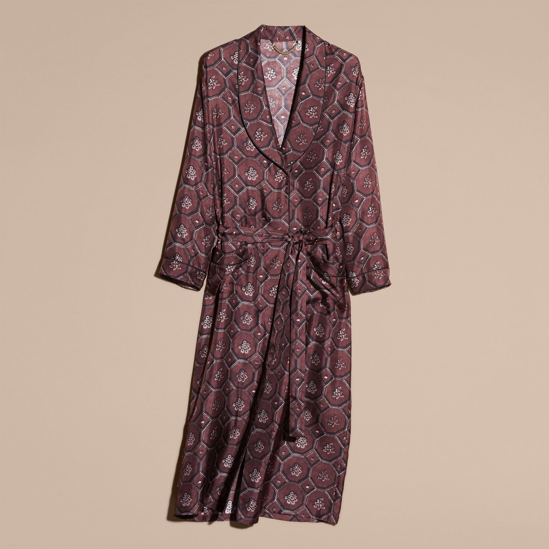 Deep claret Geometric Wallpaper Print Silk Twill Dressing Gown Coat - gallery image 4