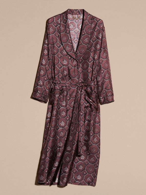 Deep claret Geometric Wallpaper Print Silk Twill Dressing Gown Coat - cell image 3