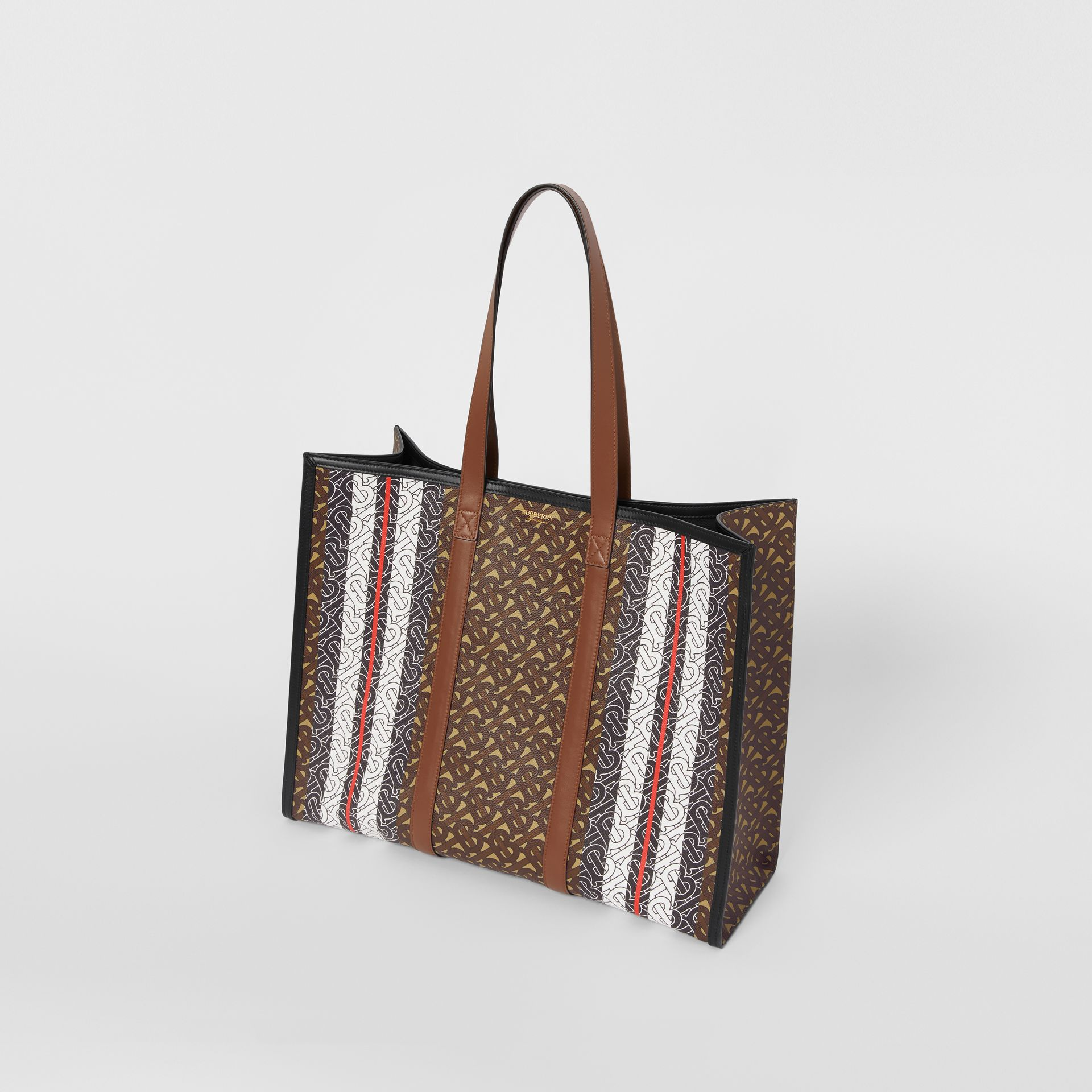 Monogram Stripe E-canvas Tote Bag in Bridle Brown - Women | Burberry - gallery image 4