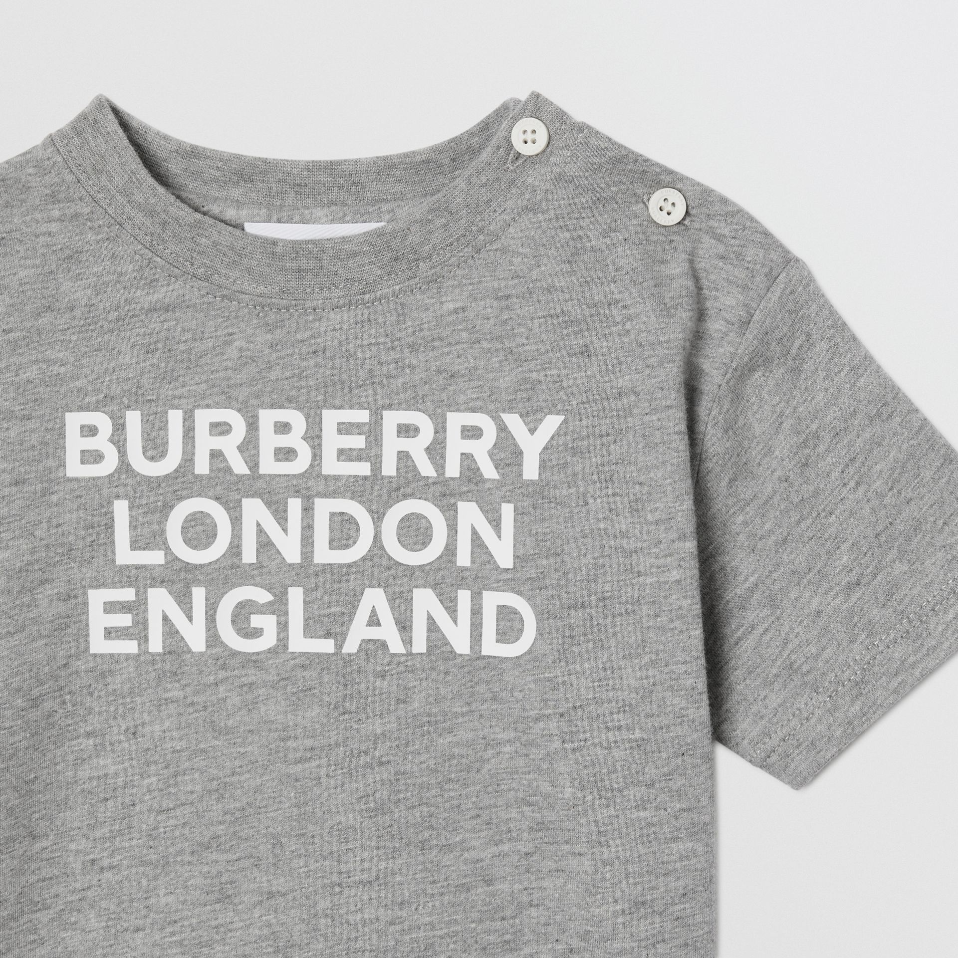 Logo Print Cotton T-shirt in Grey Melange - Children | Burberry - gallery image 5