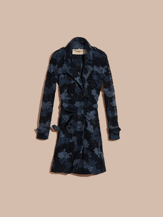Ink blue Italian Macramé Lace Trench Coat - cell image 3
