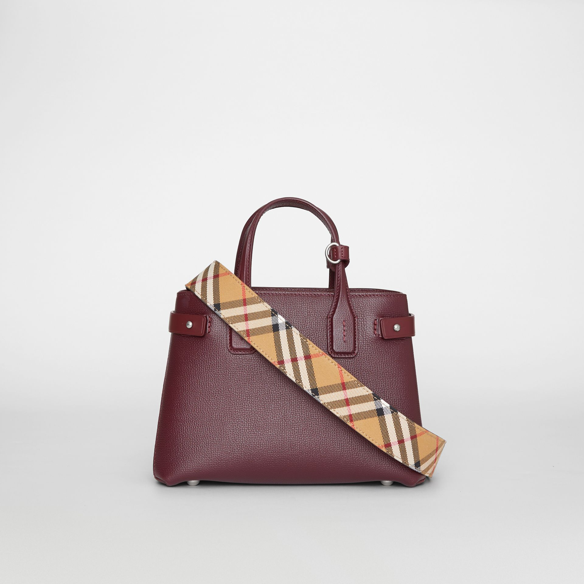 The Small Banner in Leather and Vintage Check in Mahogany Red - Women | Burberry - gallery image 8