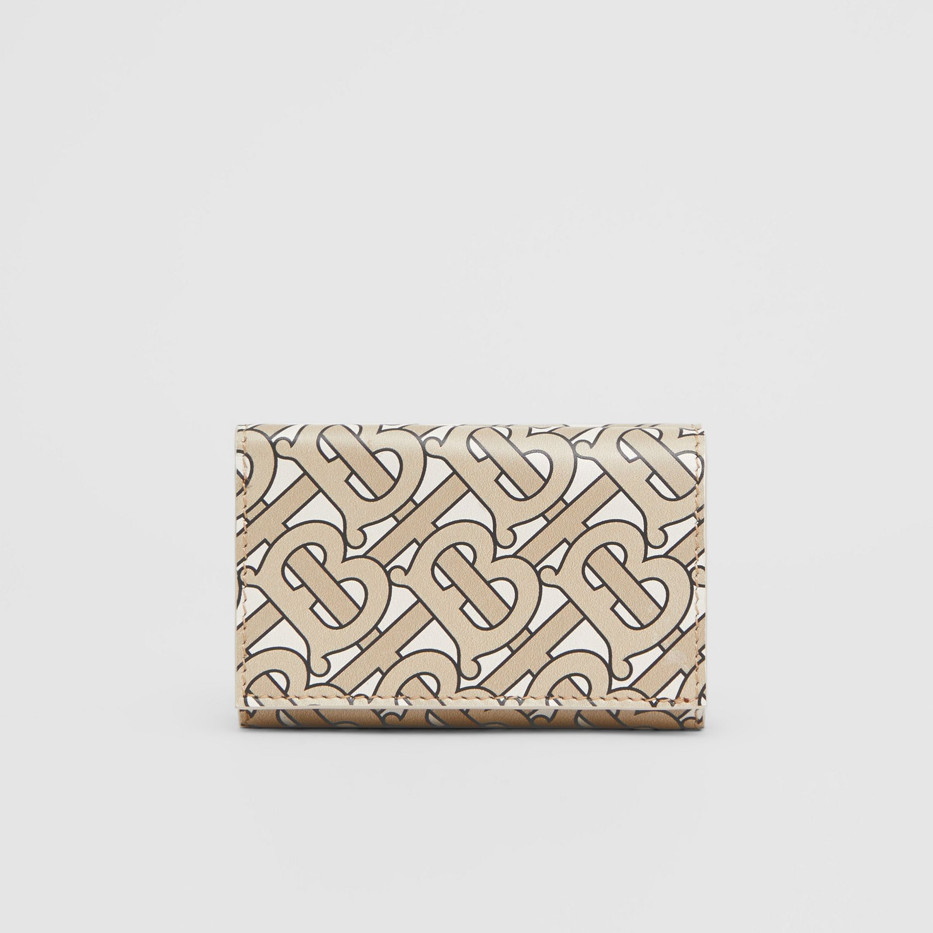 Small Monogram Print Leather Folding Wallet in Beige - Women | Burberry - gallery image 4
