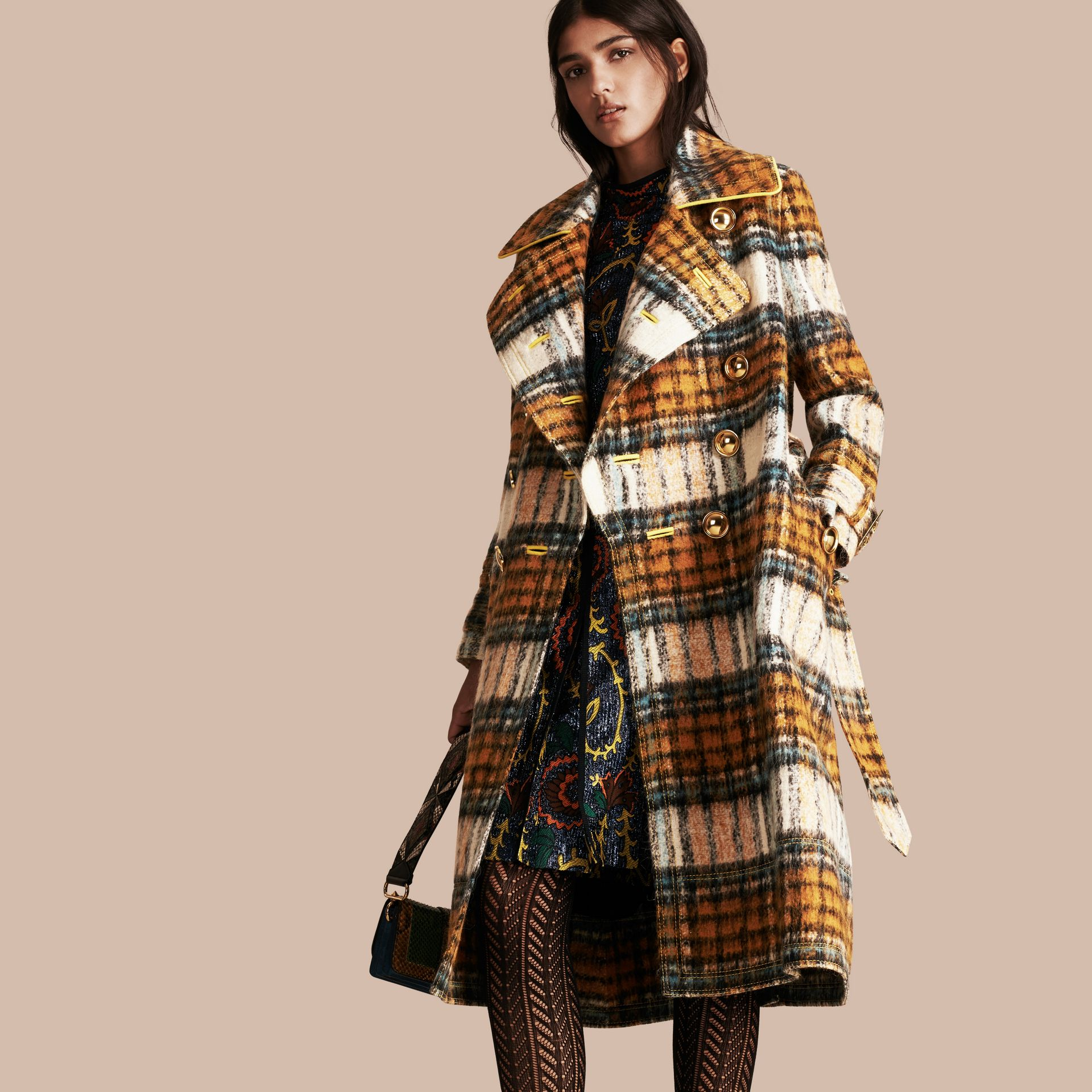 Orange amber Tartan Brushed Wool Mohair Coat - gallery image 1