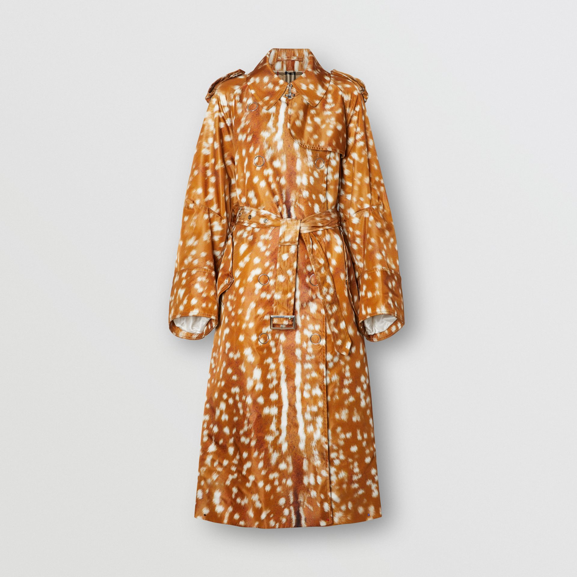 Exaggerated Cuff Deer Print Nylon Trench Coat in Honey - Women | Burberry United Kingdom - gallery image 3