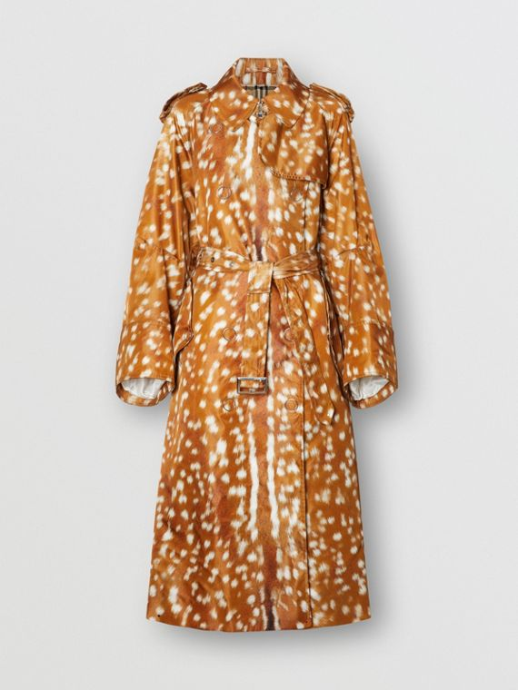Exaggerated Cuff Deer Print Nylon Trench Coat in Honey