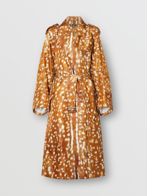 Exaggerated Cuff Deer Print Nylon Trench Coat in Honey - Women | Burberry - cell image 3