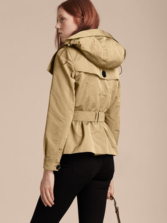 Showerproof Taffeta Trench Jacket with Detachable Hood in Honey - cell image 2