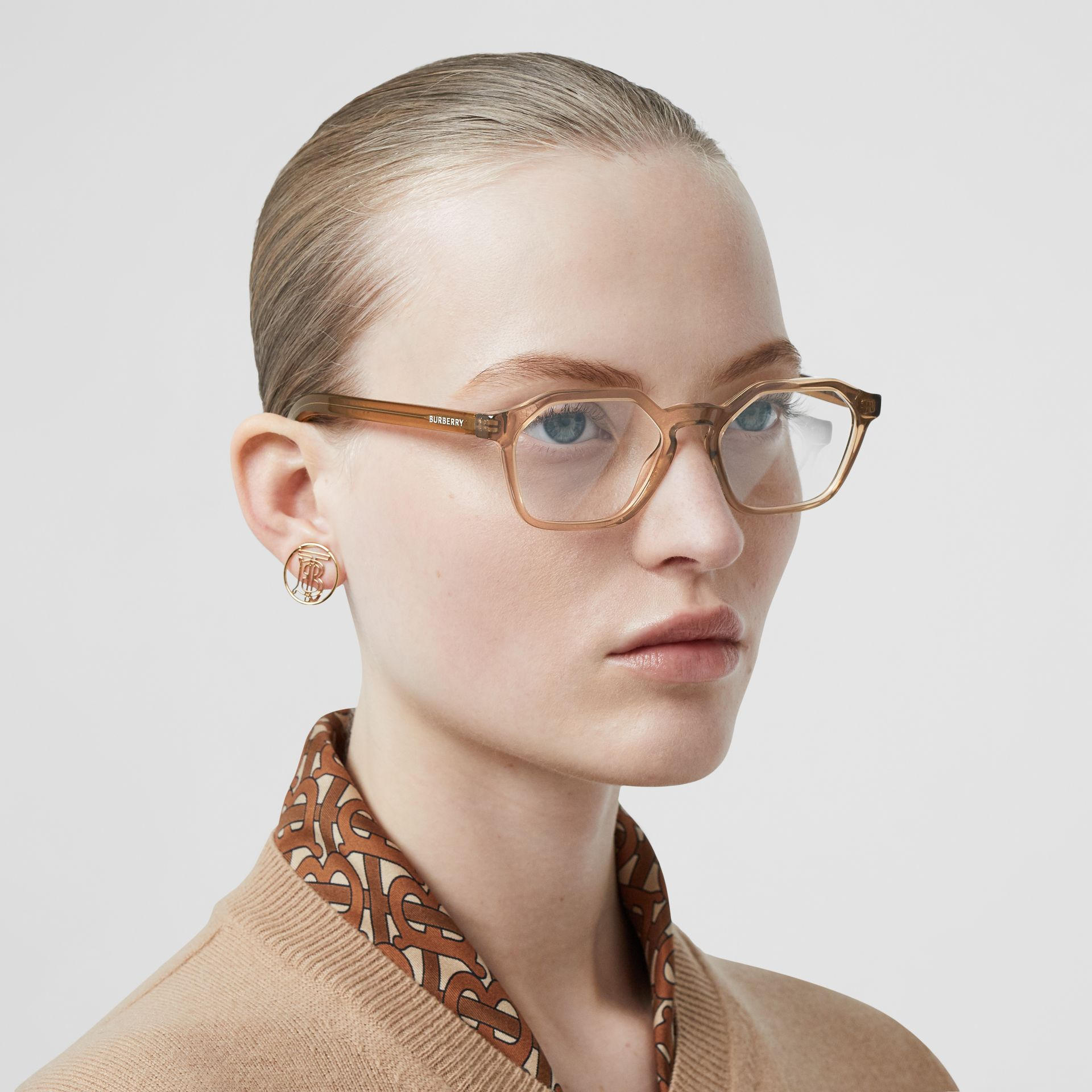 Geometric Optical Frames in Brown - Women | Burberry Australia - gallery image 2