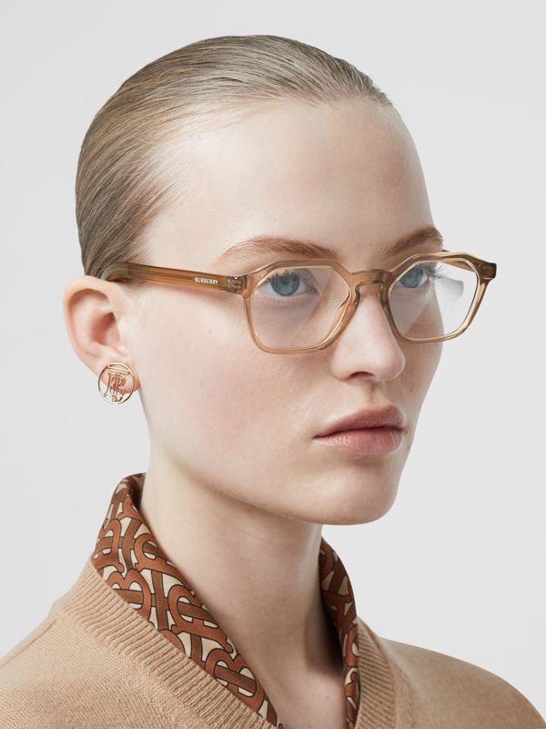 Geometric Optical Frames in Brown - Women | Burberry Australia - cell image 2