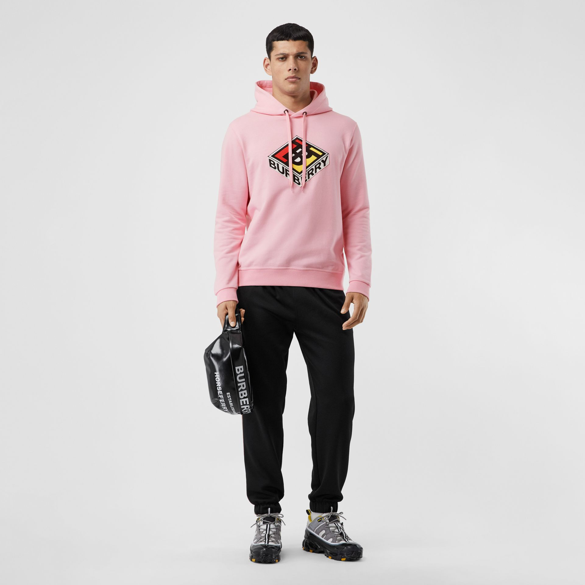 Logo Graphic Cotton Hoodie in Candy Pink - Men | Burberry - gallery image 4