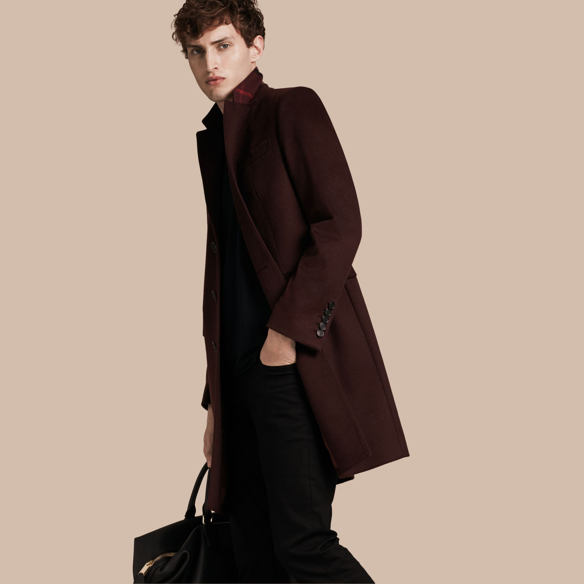 Plum Cashmere Overcoat - gallery image 1