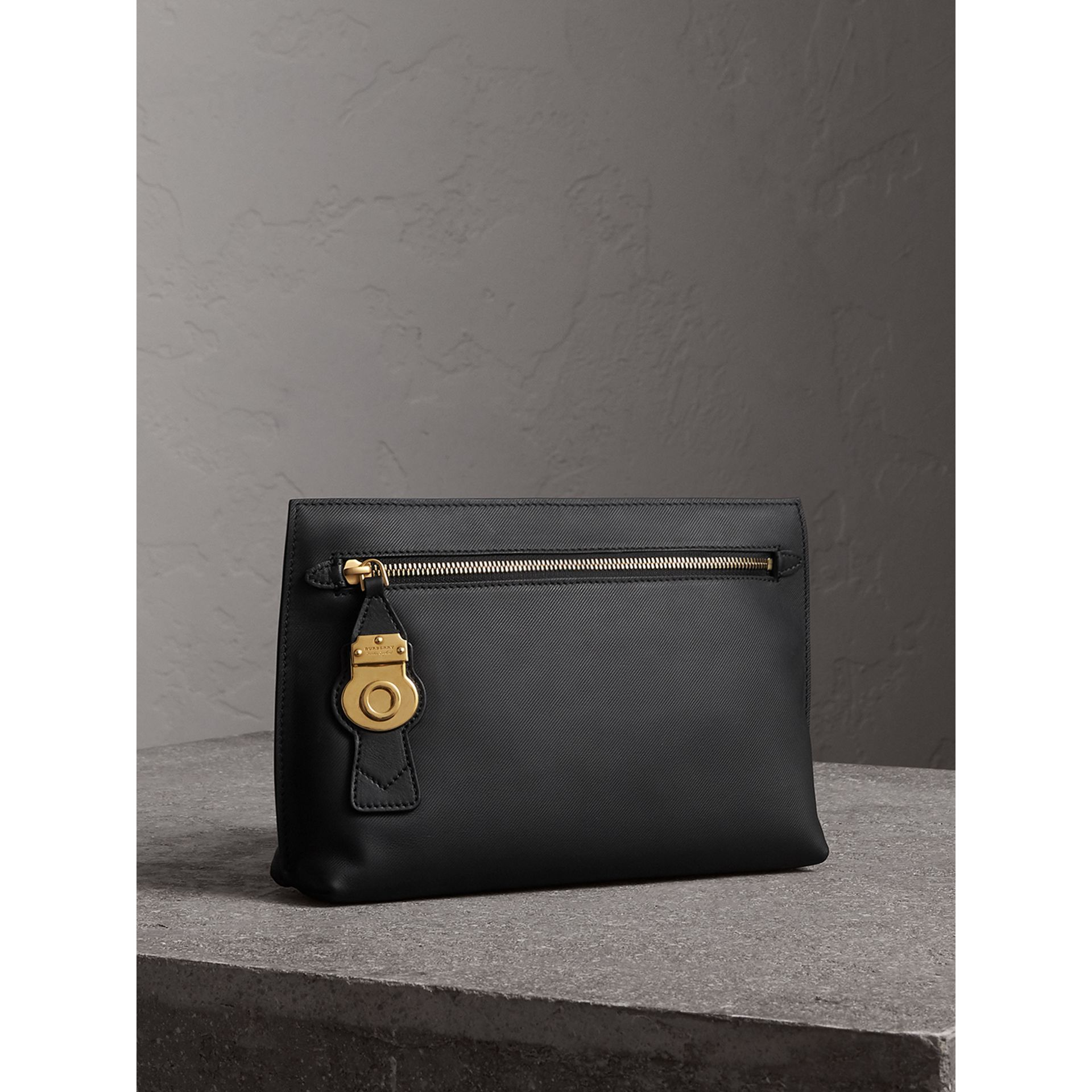 Trench Leather Wristlet Pouch in Black - Women | Burberry - gallery image 5