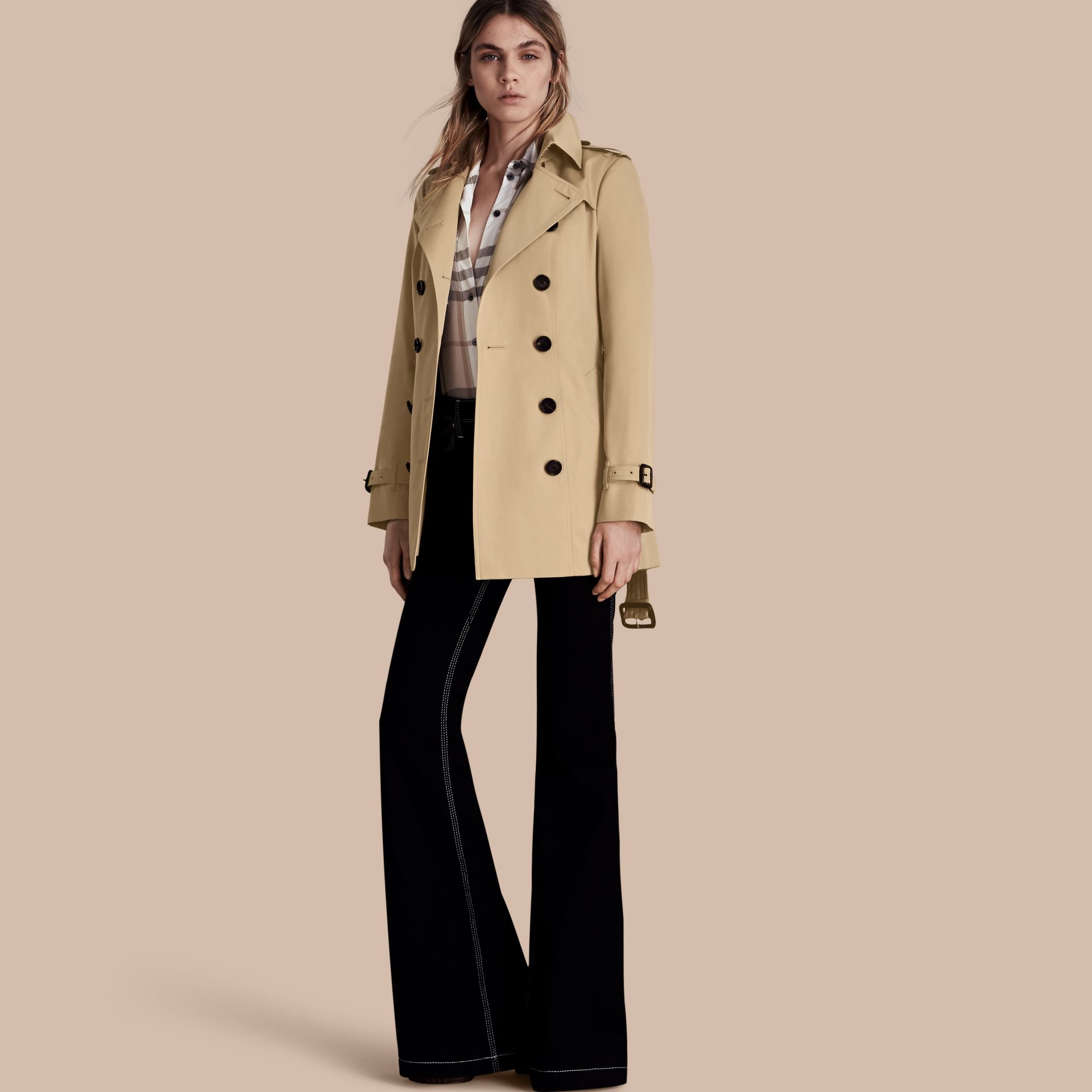 Honey The Sandringham – Short Heritage Trench Coat Honey - gallery image 1