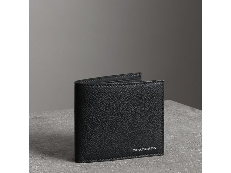 Grainy Leather International Bifold Wallet in Black - Men | Burberry Australia - cell image 4