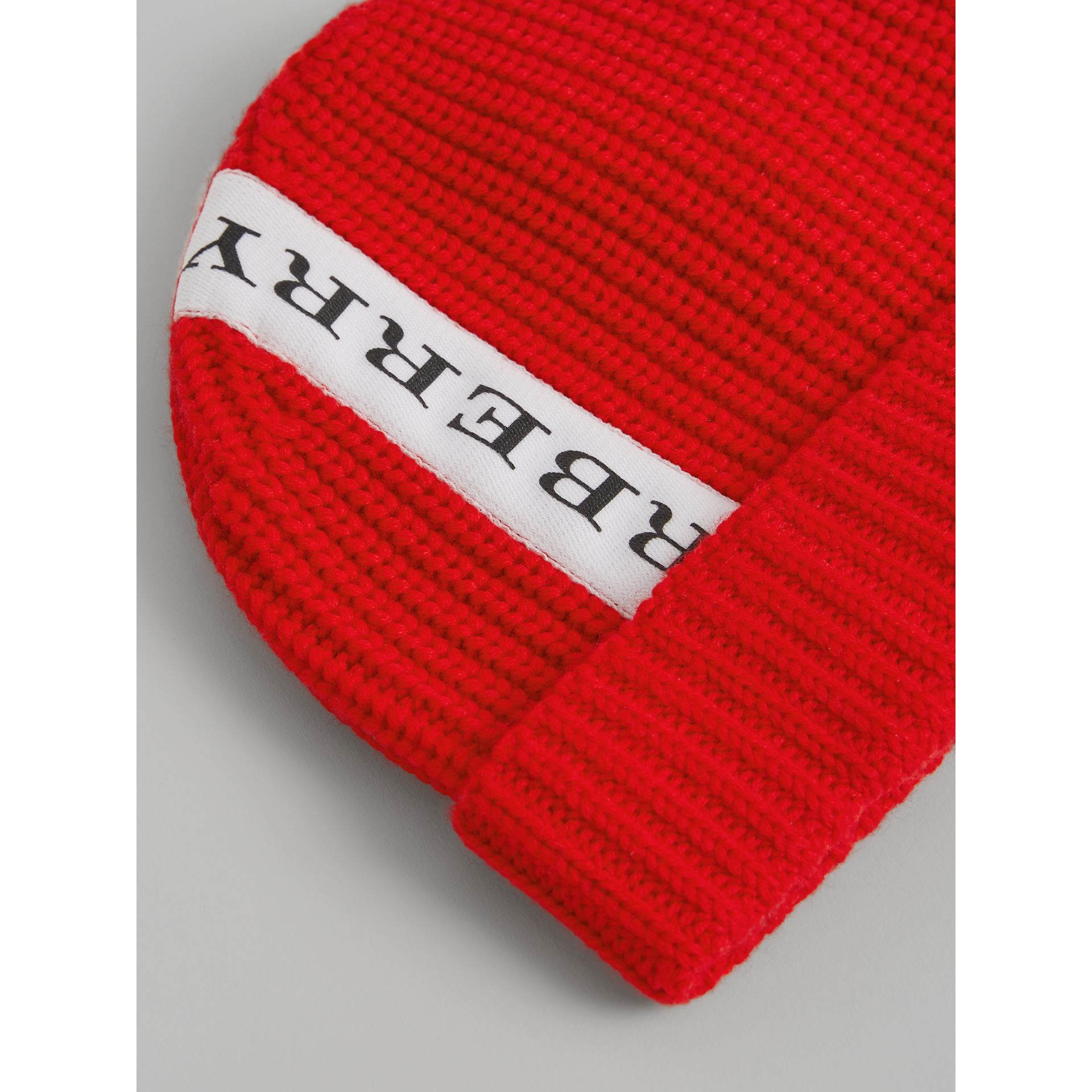 Logo Stripe Wool Turnback Beanie in Red | Burberry - gallery image 1