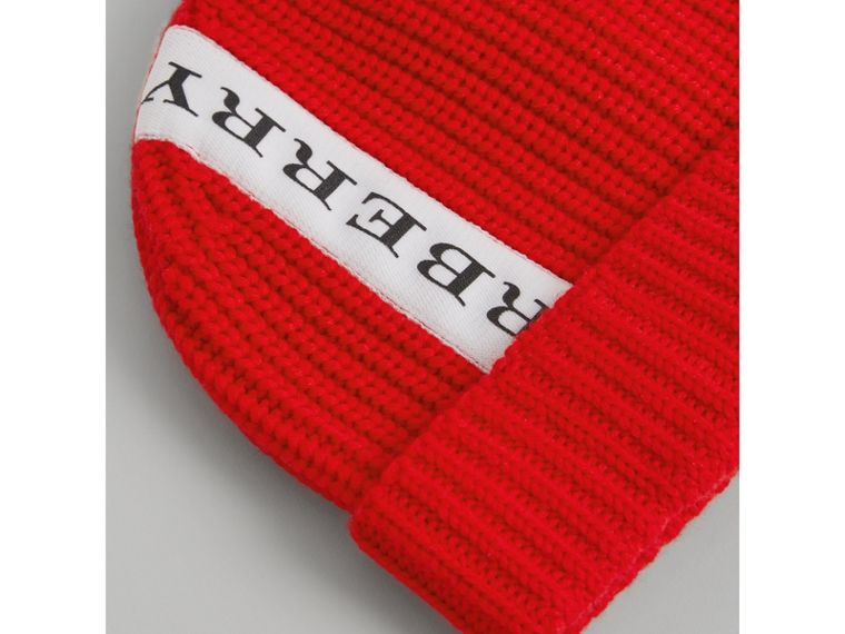 Logo Stripe Wool Turnback Beanie in Red | Burberry Canada - cell image 1