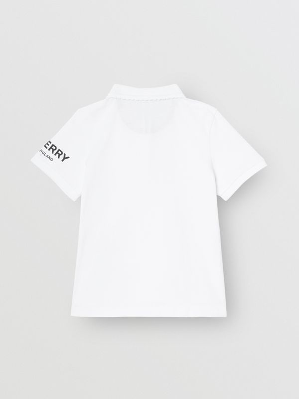 Logo Print Cotton Piqué Polo Shirt in White | Burberry Australia - cell image 3
