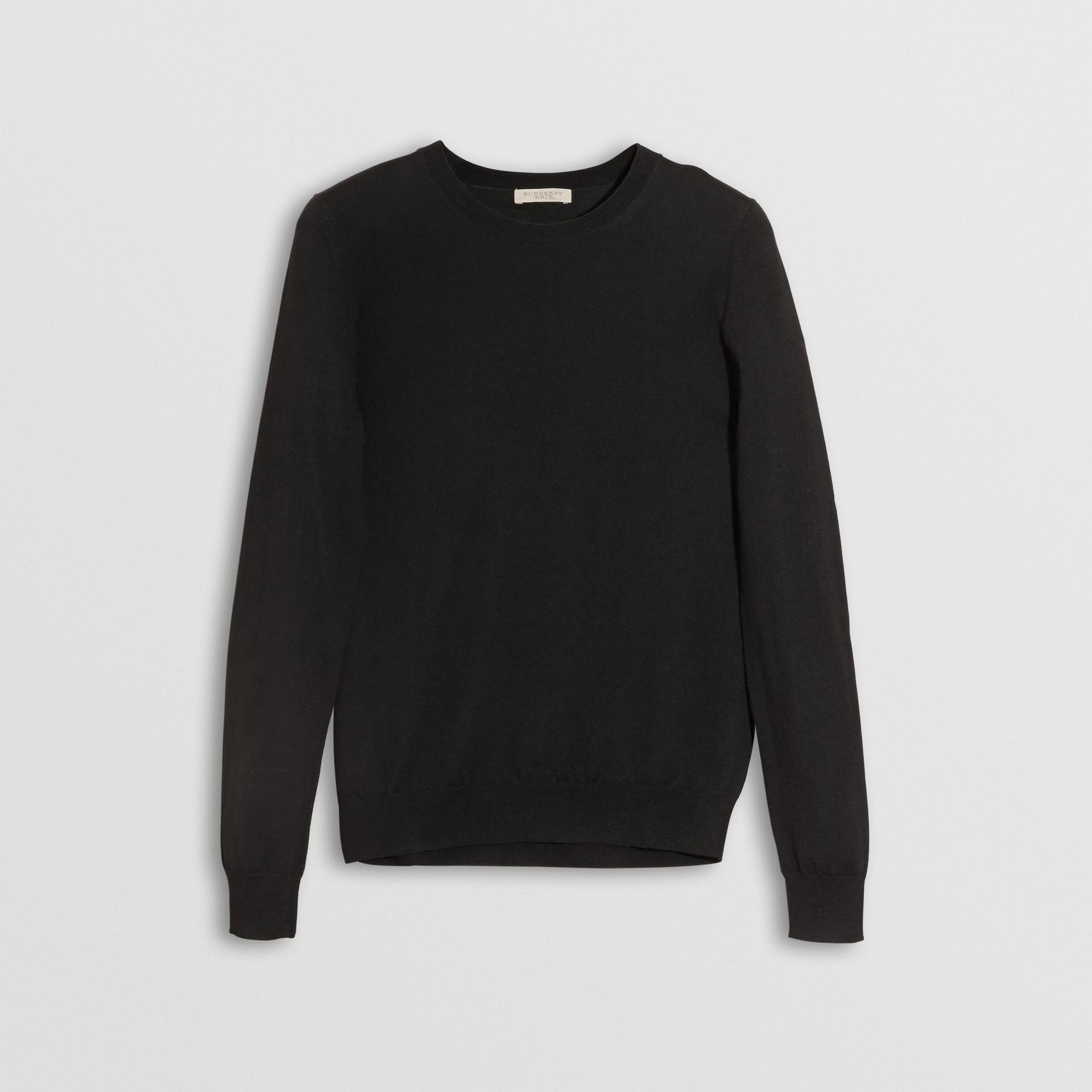 Check Detail Merino Wool Crew Neck Sweater in Black - Women   Burberry Canada - gallery image 3