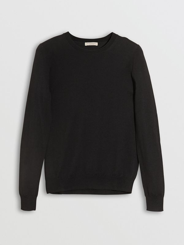 Check Detail Merino Wool Crew Neck Sweater in Black - Women   Burberry Canada - cell image 3