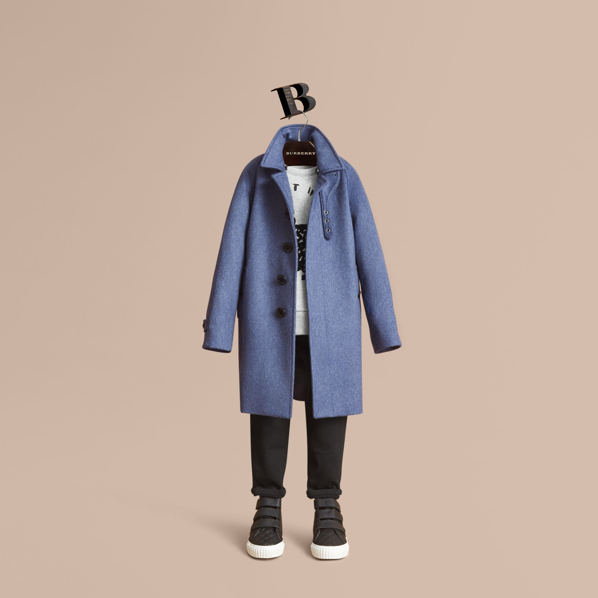 Cashmere Car Coat in Steel Blue Melange - Boy | Burberry - gallery image 1