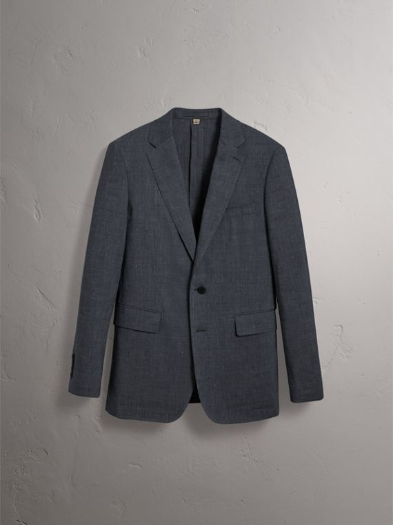 Soho Fit Three-piece Linen Wool Suit in Pale Slate Blue - Men | Burberry - cell image 3