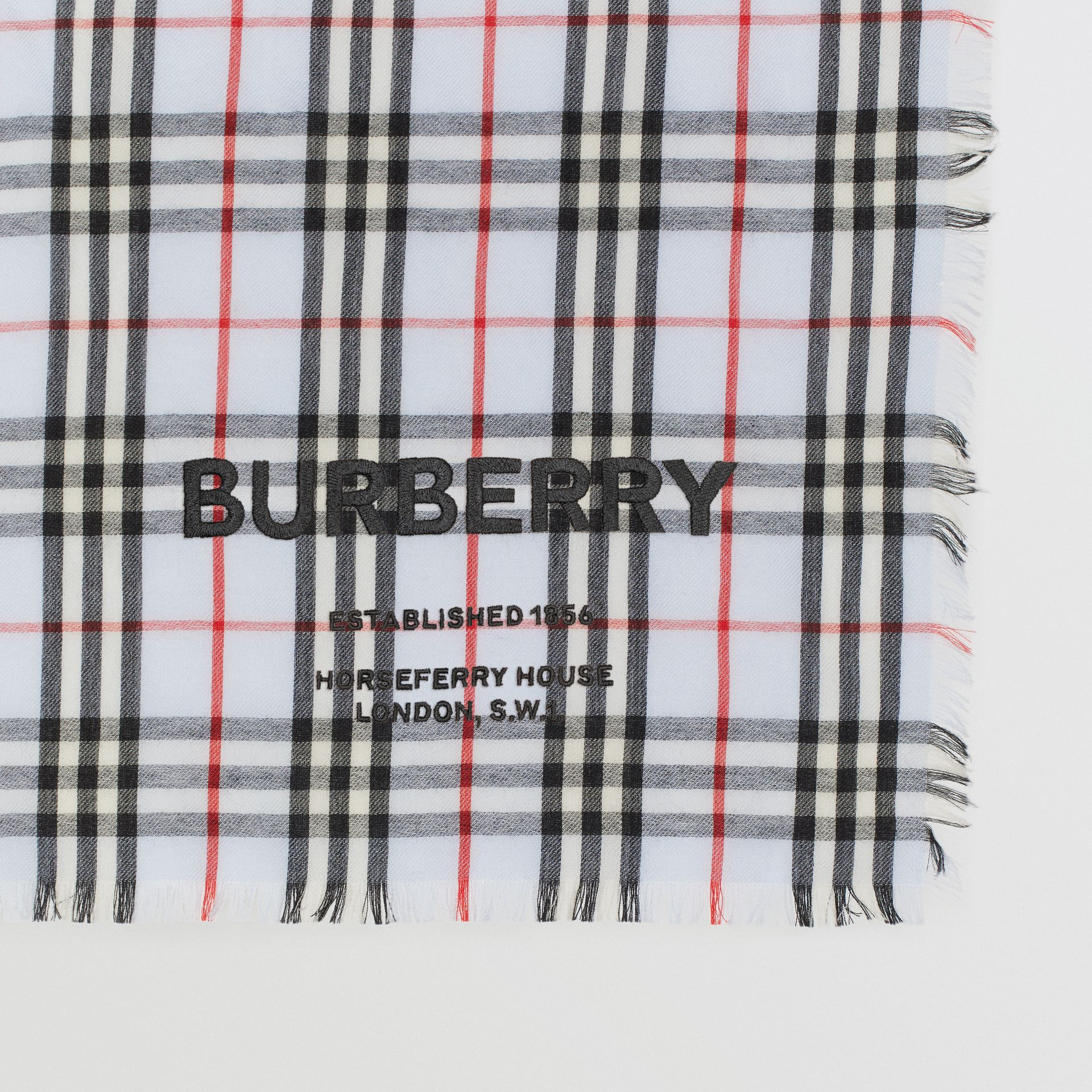 Embroidered Vintage Check Lightweight Cashmere Scarf in Pale Blue | Burberry Australia - gallery image 1