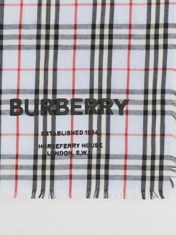 Шарф в клетку Vintage Check с вышивкой (Бледно-голубой) | Burberry - cell image 1