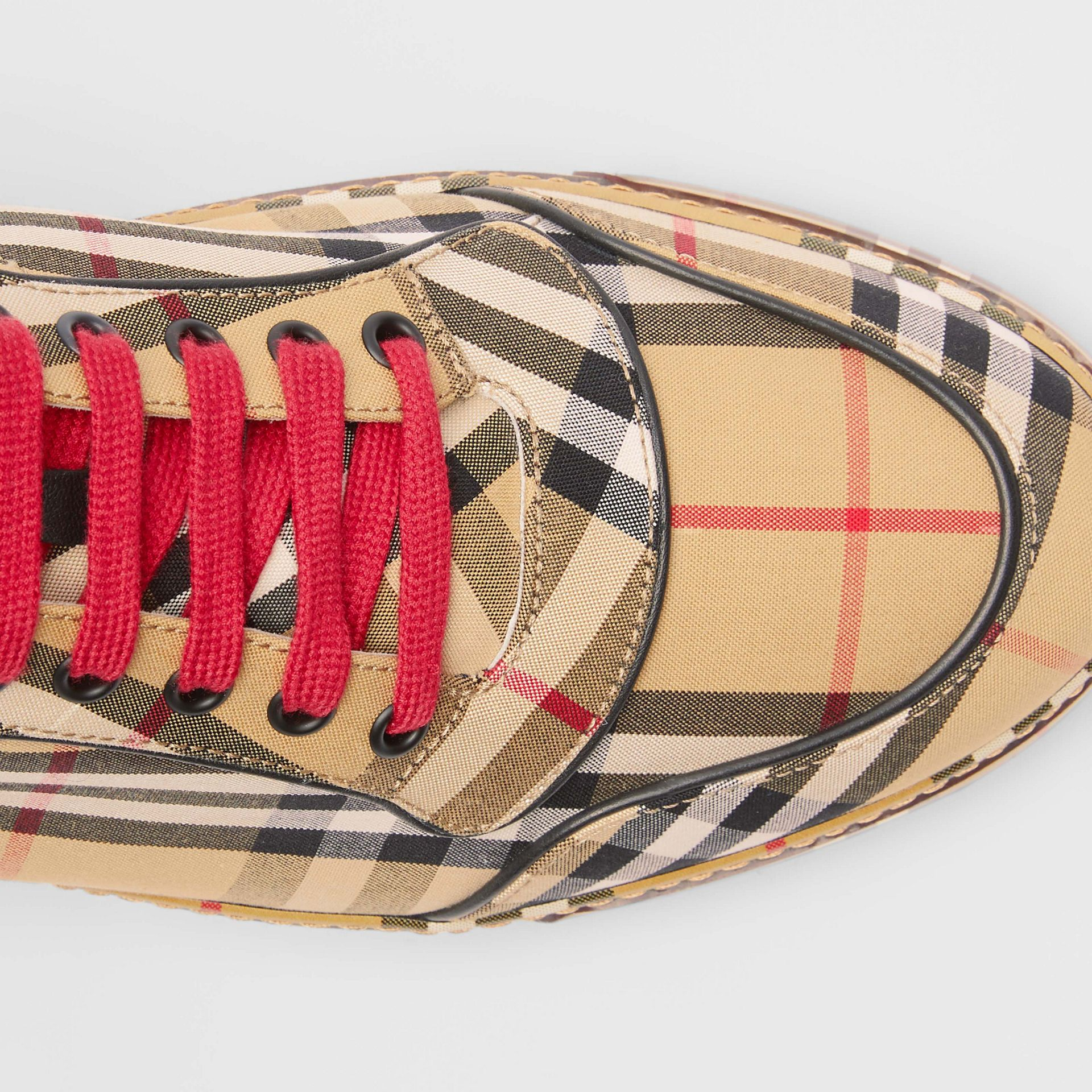Vintage Check Cotton High-top Sneakers in Antique Yellow - Men | Burberry Australia - gallery image 1