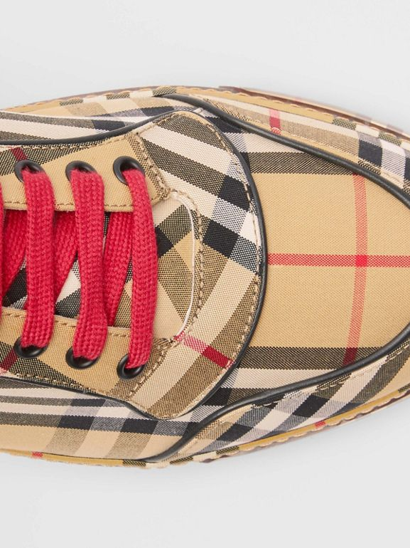 Vintage Check Cotton High-top Sneakers in Antique Yellow - Men | Burberry Australia - cell image 1