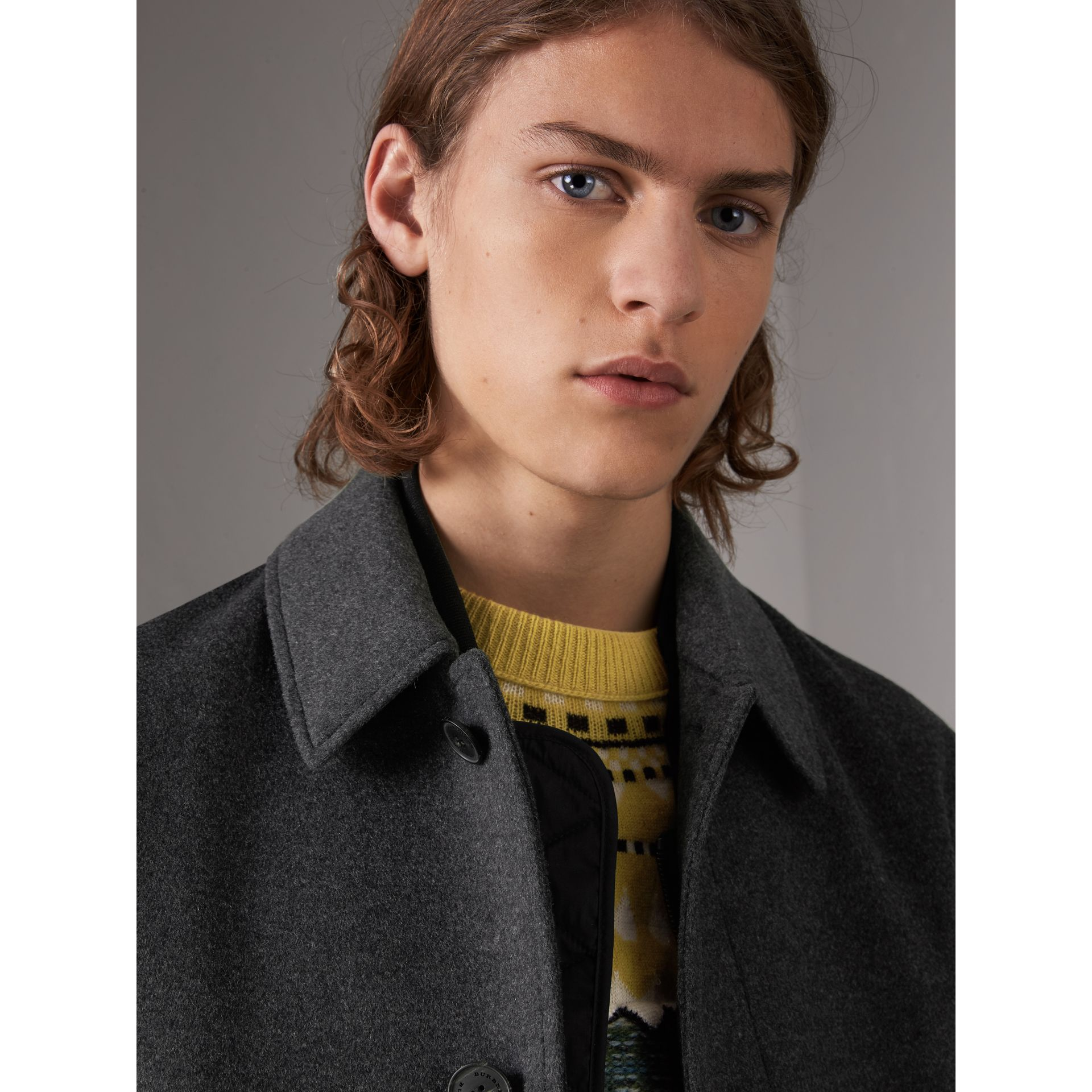 Wool Cashmere Blend Car Coat with Detachable Gilet in Dark Grey Melange - Men | Burberry - gallery image 5