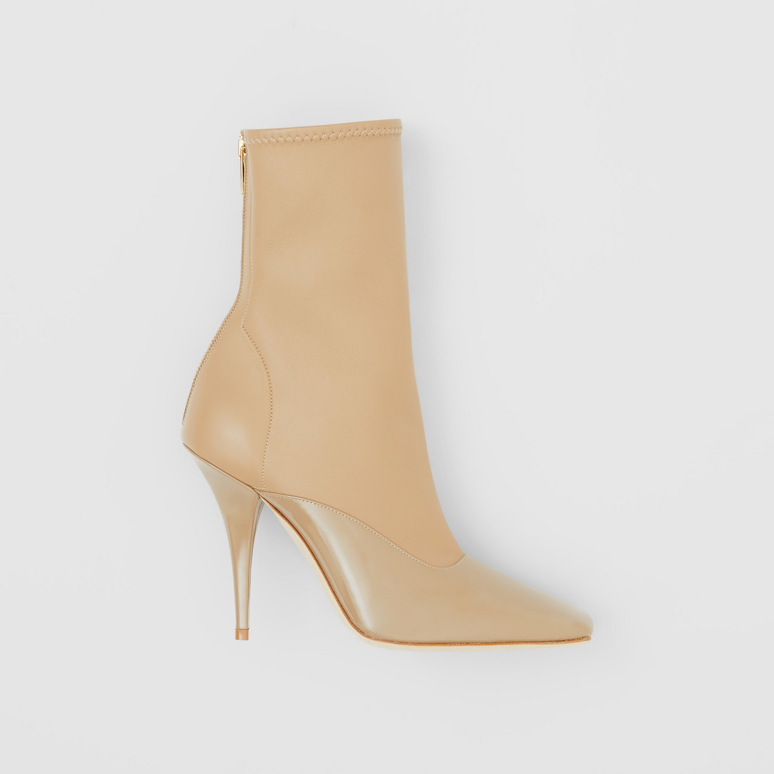 Lambskin and Patent Leather Ankle Boots in Dark Honey | Burberry - 1