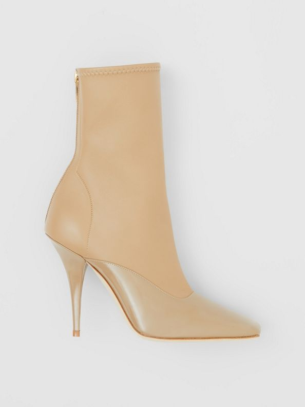 Lambskin and Patent Leather Ankle Boots in Dark Honey