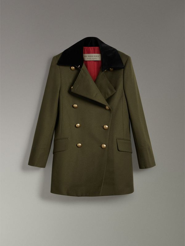 Velvet Collar Wool Military Coat in Olive - Women | Burberry - cell image 3