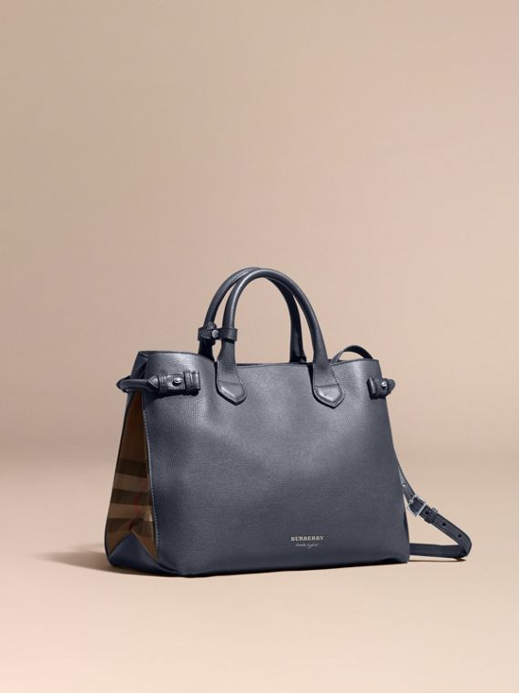Sac The Banner medium en cuir et coton House check Bleu Encre