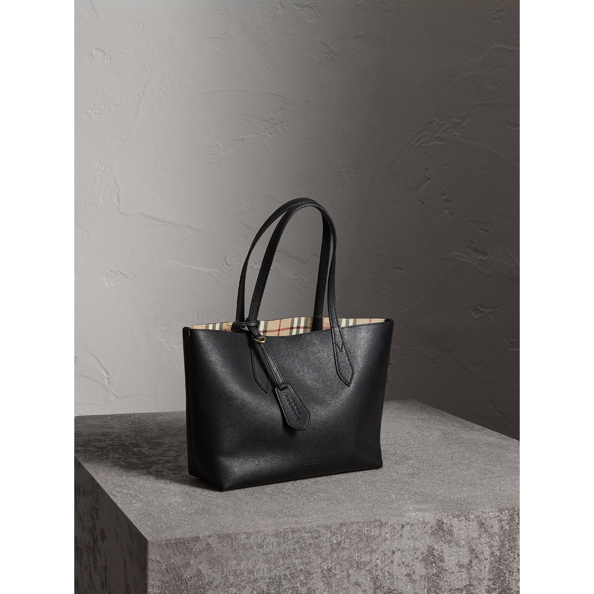 The Small Reversible Tote in Haymarket Check and Leather in Black - Women | Burberry - gallery image 7
