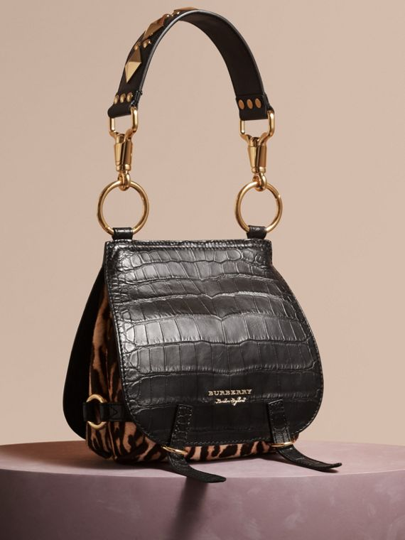 The Bridle Bag in Alligator and Calfskin in Black