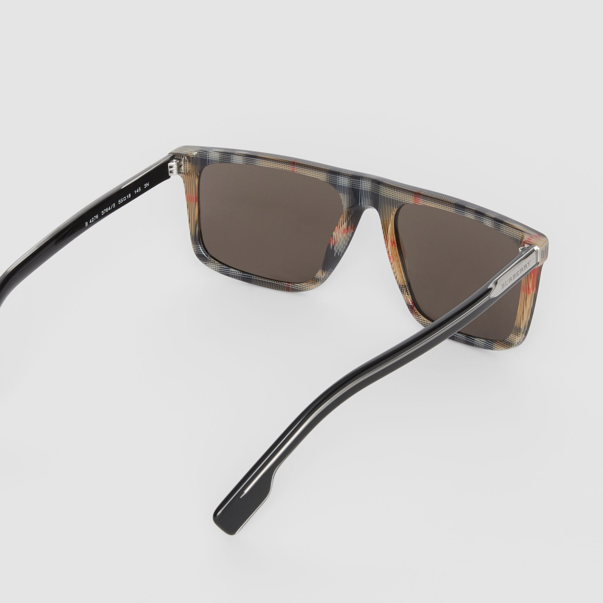 Vintage Check Detail Straight-brow Sunglasses in Black - Men | Burberry Canada - gallery image 4
