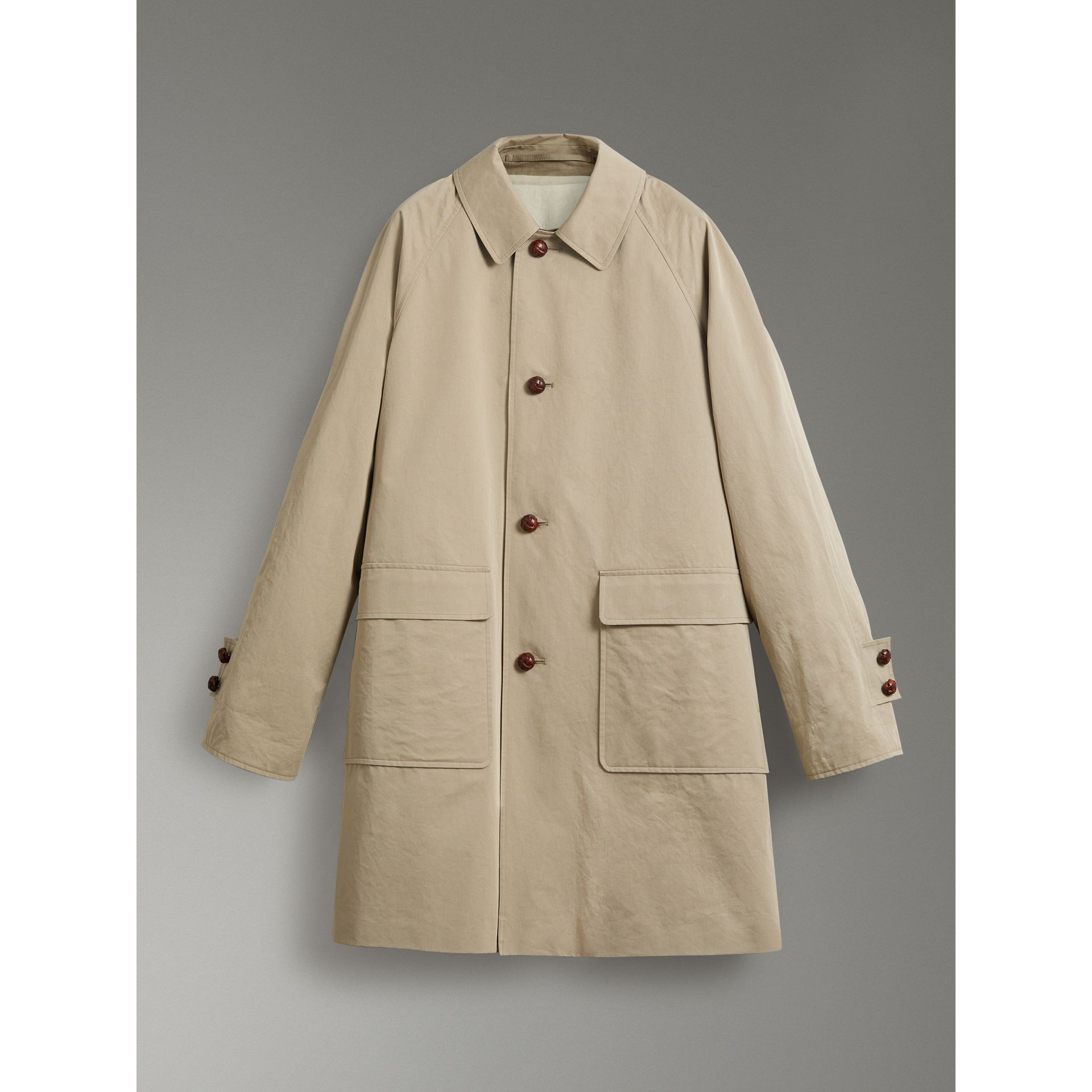 Reissued Waxed Cotton Gabardine Car Coat in Khaki - Men | Burberry Hong Kong - gallery image 3