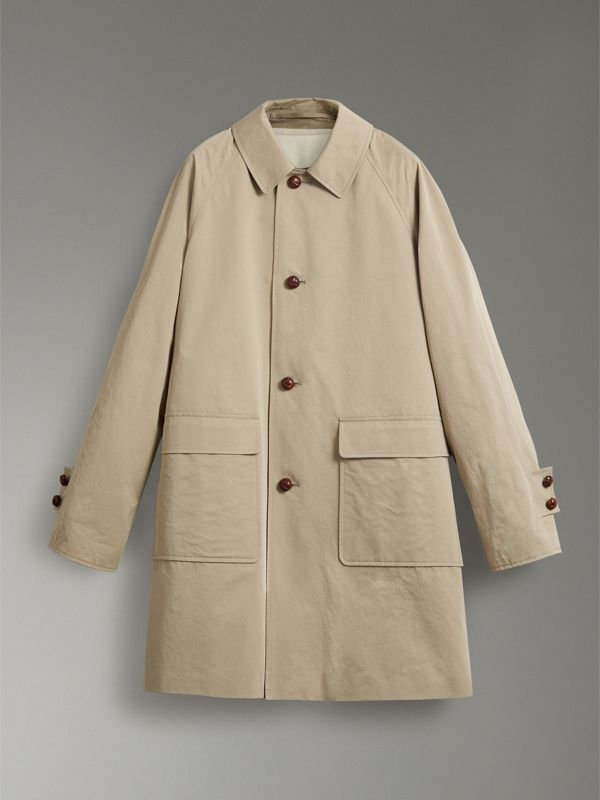 Reissued Waxed Cotton Gabardine Car Coat in Khaki - Men | Burberry - cell image 3