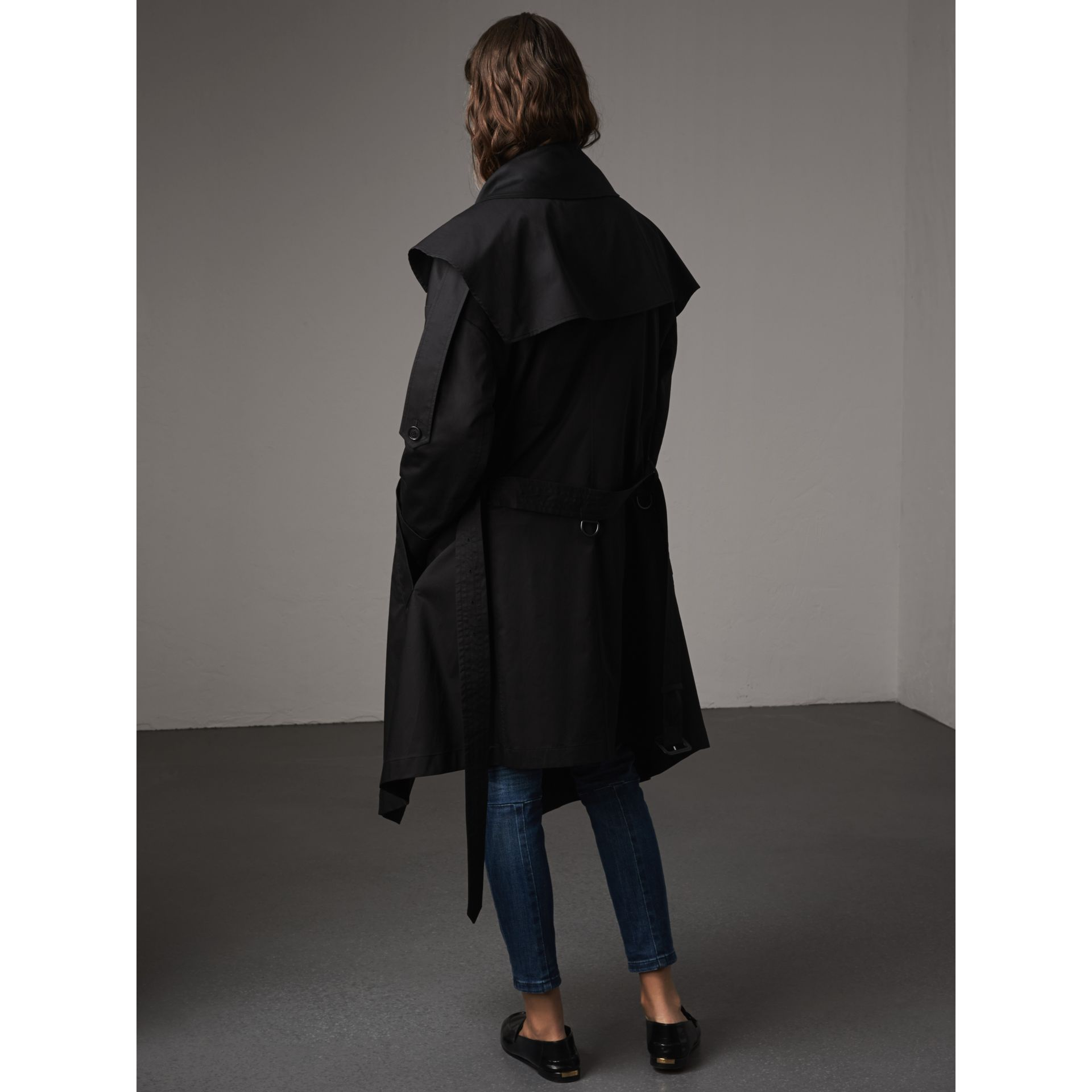 Cotton Asymmetric Trench Coat in Black - Women | Burberry Singapore - gallery image 3