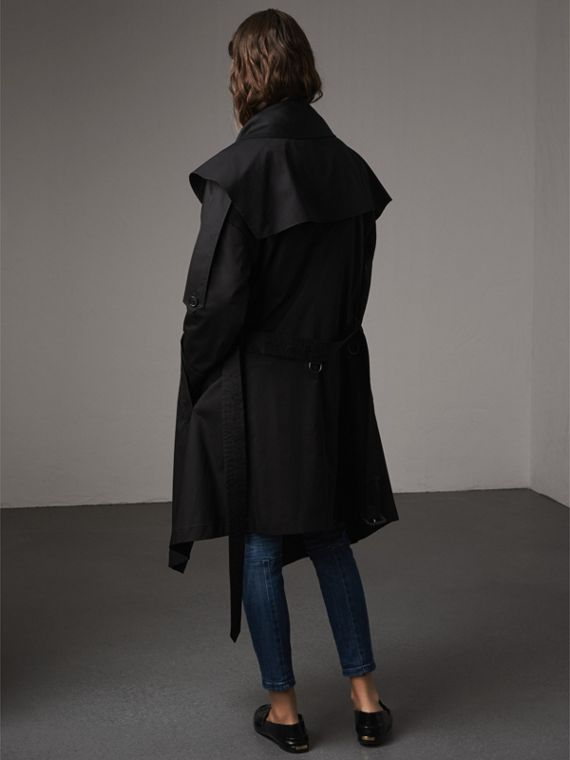 Cotton Asymmetric Trench Coat in Black - Women | Burberry - cell image 2