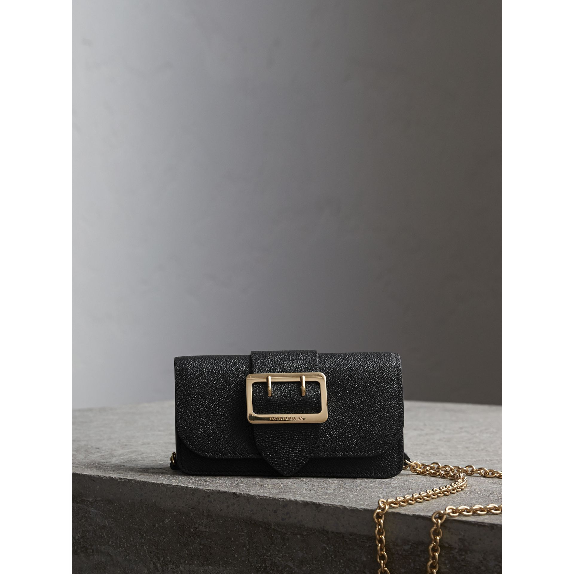 The Mini Buckle Bag in Grainy Leather in Black - Women | Burberry - gallery image 1