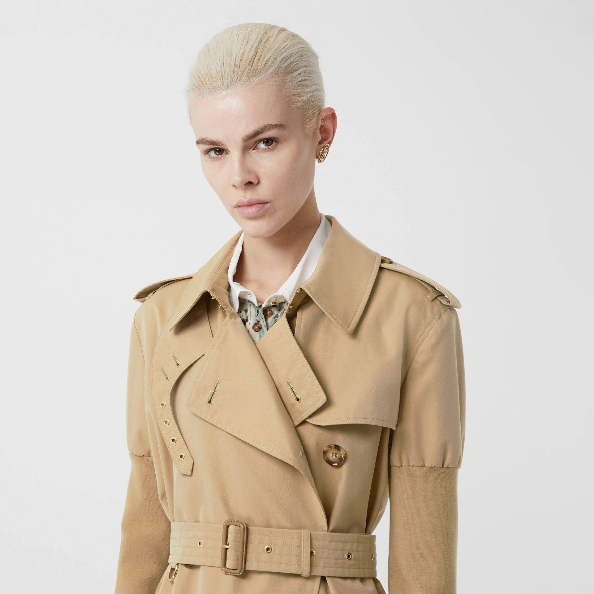 Panelled-sleeve Cotton Gabardine Oversized Trench Coat in Honey - Women | Burberry United Kingdom - gallery image 1
