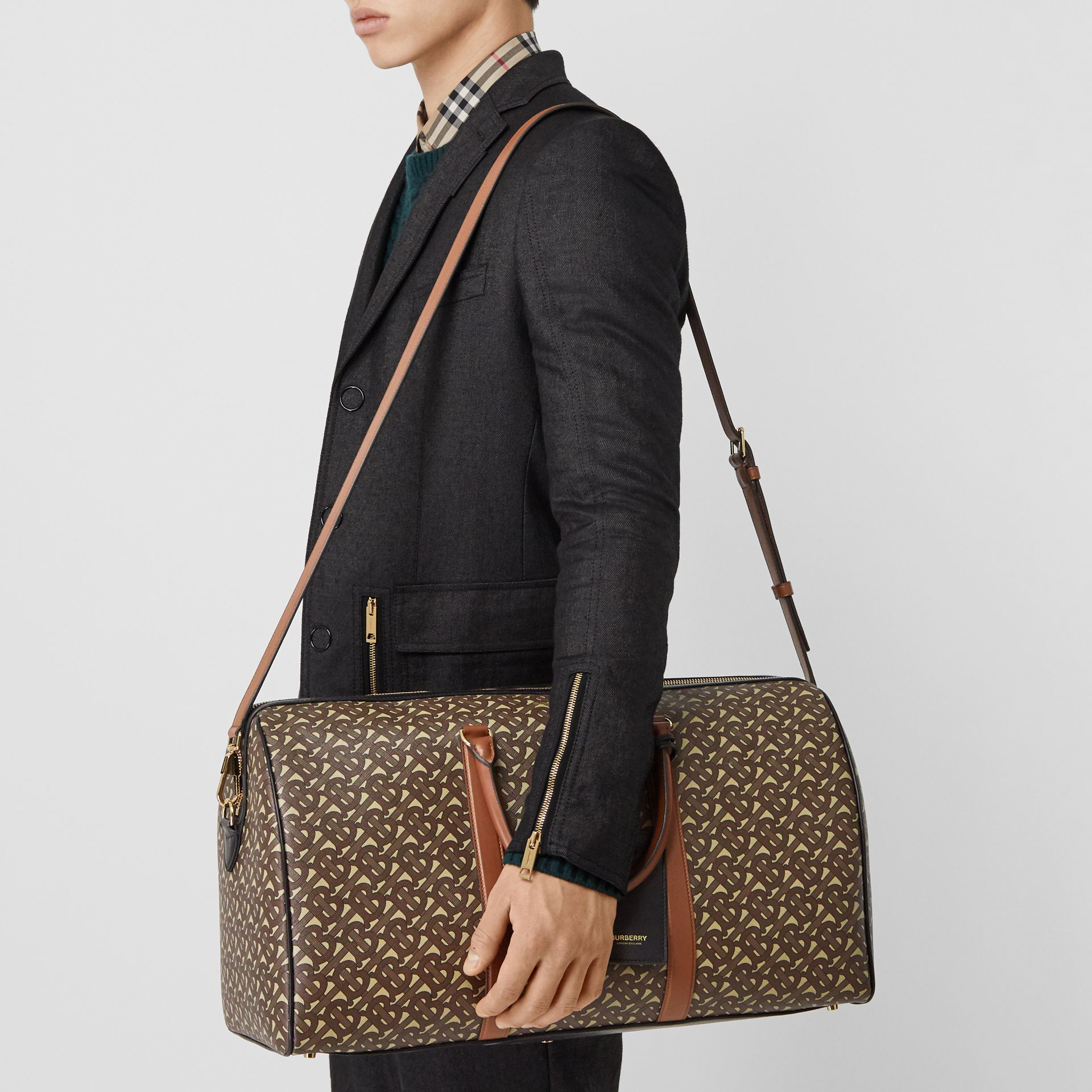 Monogram Print E-canvas and Leather Holdall in Bridle Brown - Men | Burberry - gallery image 5