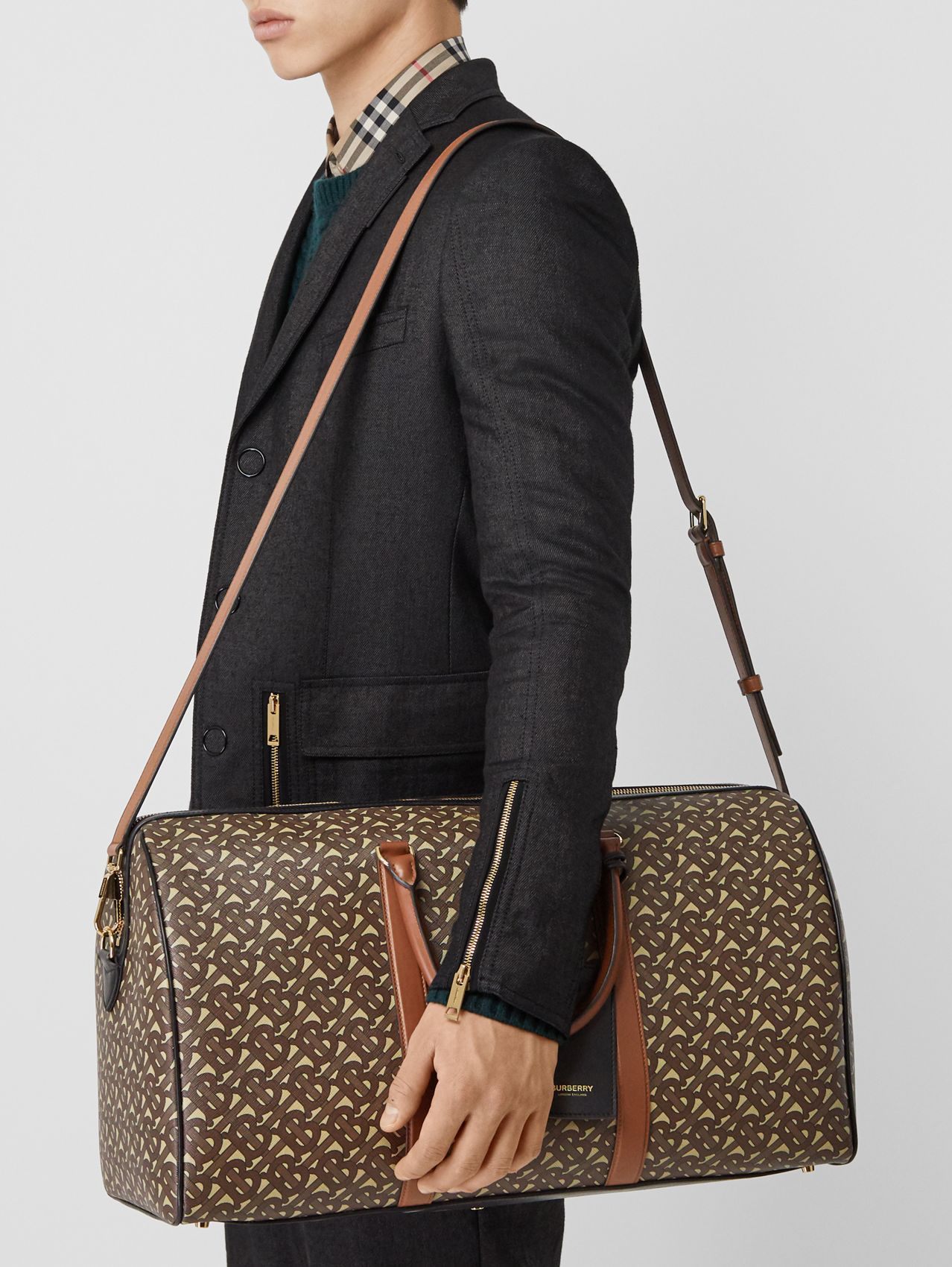 Monogram Print E-canvas and Leather Holdall (Bridle Brown)