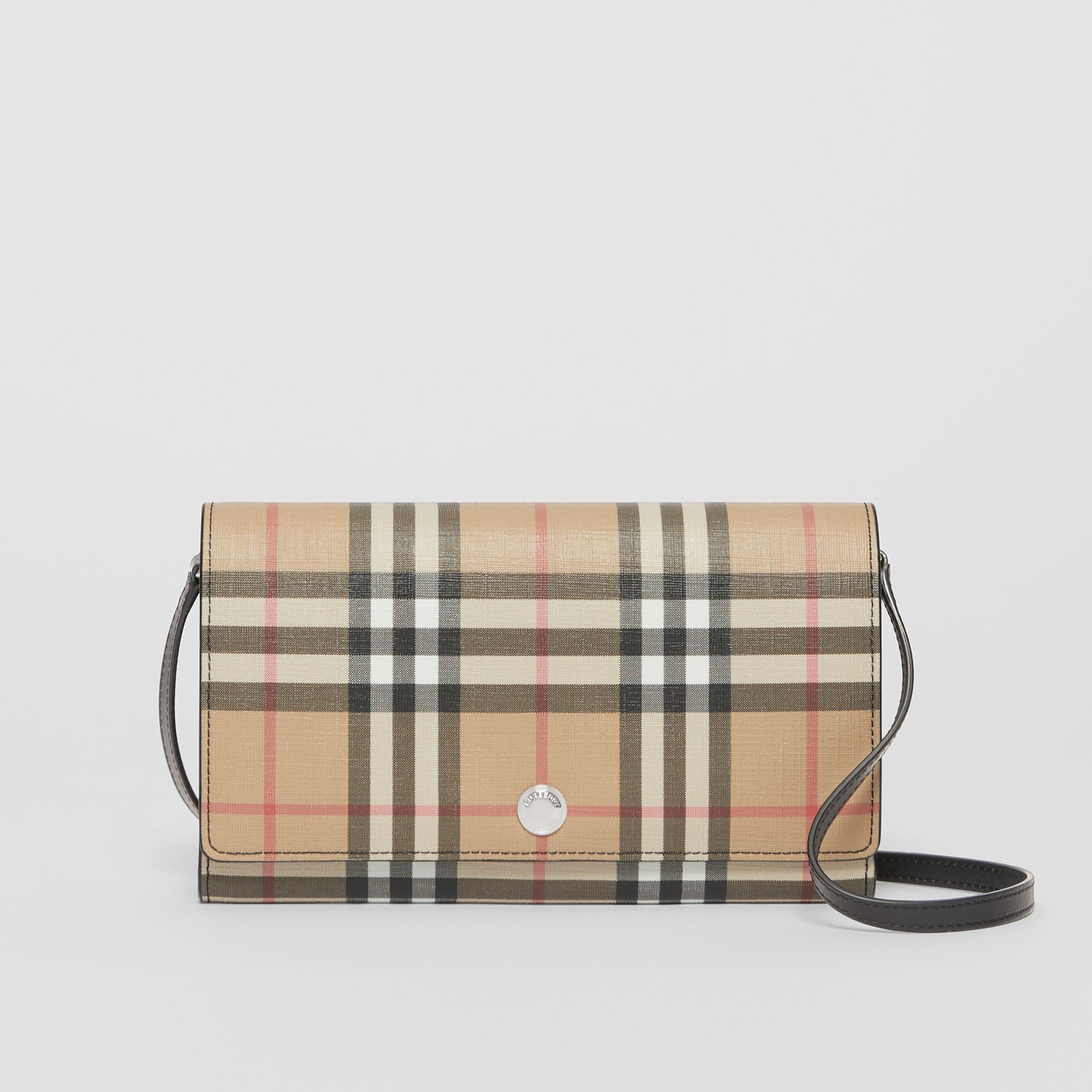 Vintage Check E-canvas Wallet with Detachable Strap in Black - Women | Burberry - gallery image 0