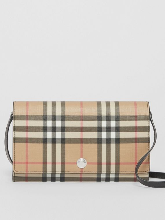 Vintage Check E-canvas Wallet with Detachable Strap in Black