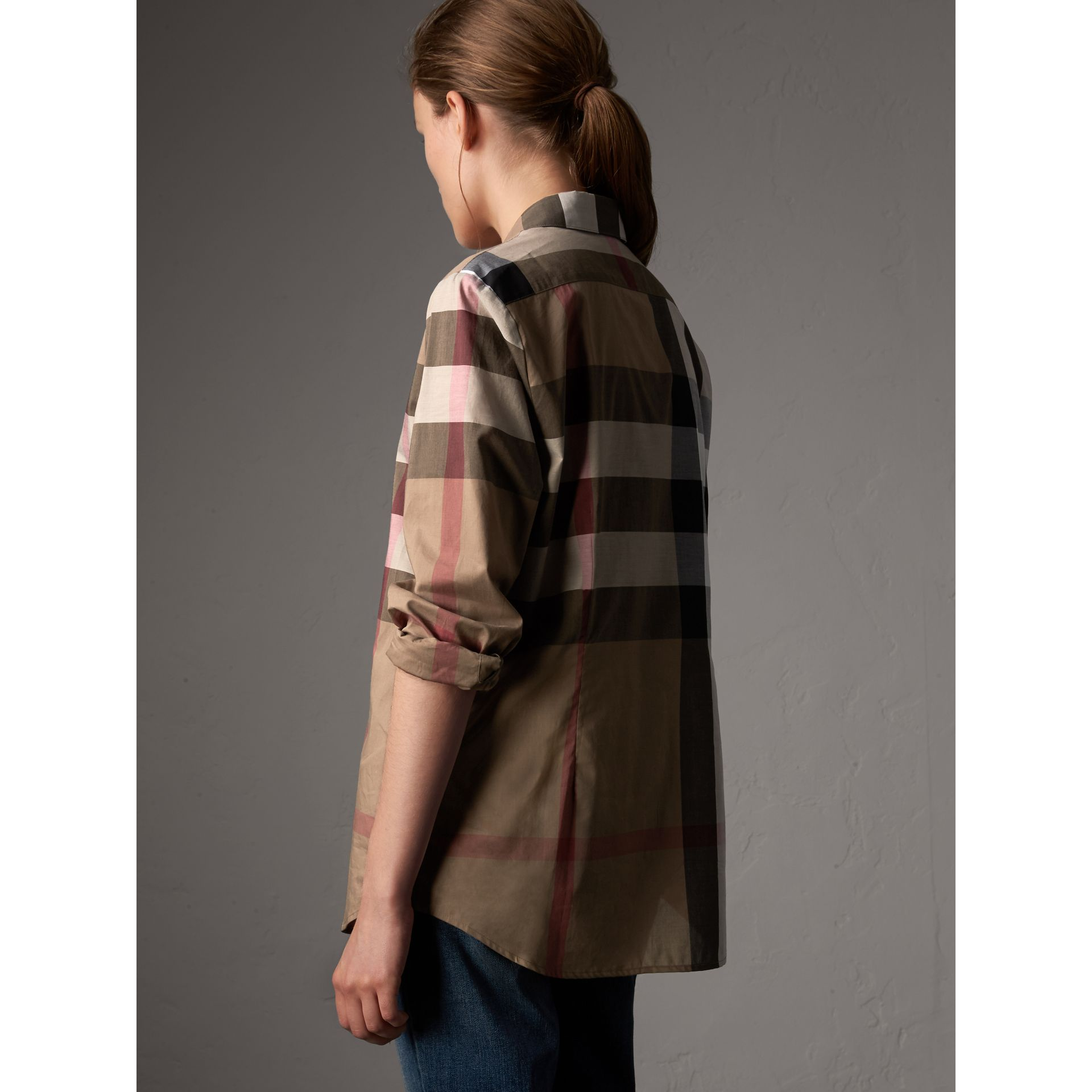 Check Cotton Shirt in Taupe Brown - Women | Burberry - gallery image 3